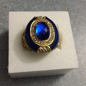 Jewelry - Sapphire & Austrian Crystal Ring (Size 9.0)